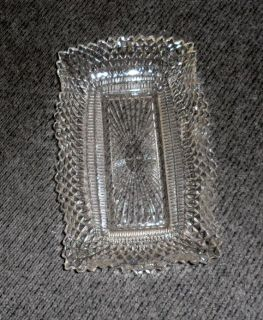 "VINTAGE Tray Clear Glass Celery/Asparagus/Tray/Hob Nailed/Saw Tooth Fluted Edging 5.24""w x 9""l"