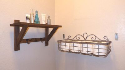 Wood & Wrought Iron Wall Shelving, Rustic Farmhouse Cottage