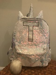 Glitter backpack with initial T
