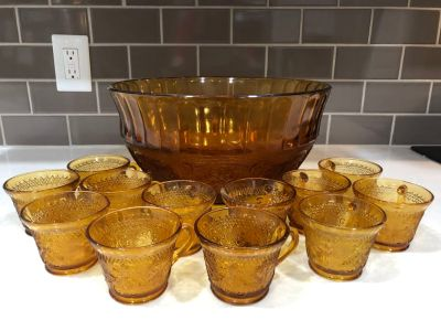 Tiara Amber Glass Punch Bowl with 12 cups