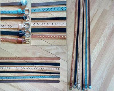 All-Leather Skinny Fashion Belts for Women - Set of 6