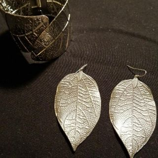 Matching Leaf Bracelet and Earrings