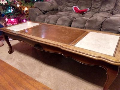 Antique (60's) coffee table and matching end tables