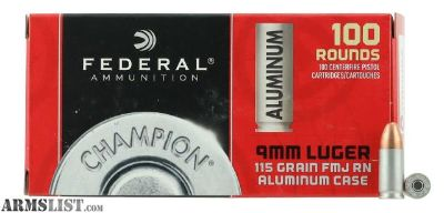 For Sale: Federal CAL9115100 9mm Luger 115 GR Full Metal Jacket 100 Bx/ 10 Cs.no taxes,no credit card fees.