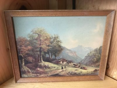 Charming Albanian/Greek (?) Vintage Antique Raised/Embossed Mountains and Hills Village Print