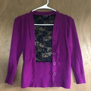 Super Cute!! Magenta Cardigan with Black Lace Back