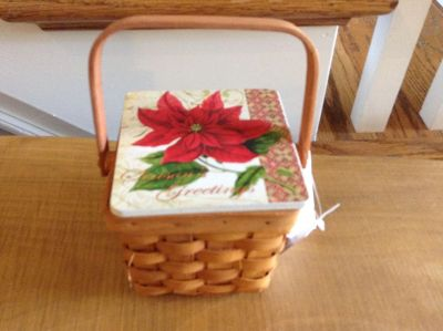 """New w/Tags-Super Cute Basket with Tile Lid, Poinsettia & """"Seasons Greetings """"- Measures 4x4x4"""
