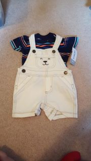 NWT Carter's Brand Baby Boys Bib Shorts Outfit.