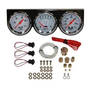 "Purchase Universal 2-5/8"" 3 Gauge Set Chrome Bezel Water Oil Pressure Volts 3 Gauges Kit motorcycle in Covina, California, United States, for US $55.95"