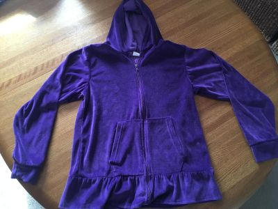 Soft! Nice velour hooded zip up, size 10