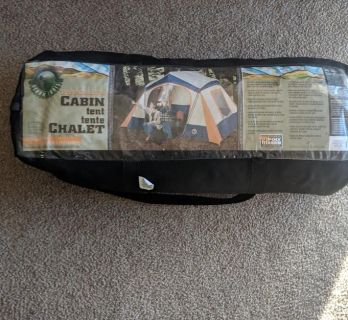 Tent (6 person), camping chair, MEC thermos