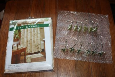 Bacova BRAND NEW shower curtain and ceramic hooks