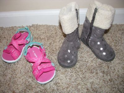 Cute Silver Boots Toddler Size 5, Pink Carter Sandals Size 5