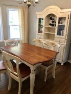 China cabinet and farmhouse style table