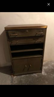 Heavy metal cabinet with leather top and brass or copper trim