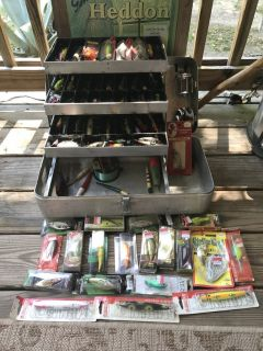 Vintage Aluminum Tackle Box with Vintage Lures & Reels-some Modern lures