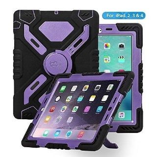 Kid Proof, Heavy Duty, Dual Protective Back Cover with Kickstand for Ipad 2/3/4 - Black/Purple