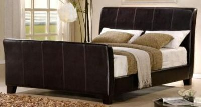 $225, Dark Brown Leather Queen Size Bed Headboard, Footboard, Slats, and Bed Rails