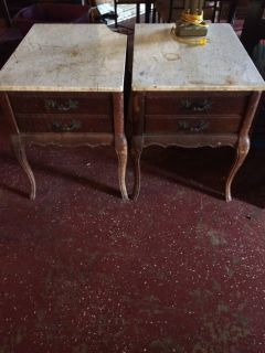 Antique French Provincial End Table Set Marble Top (1 is damaged!)