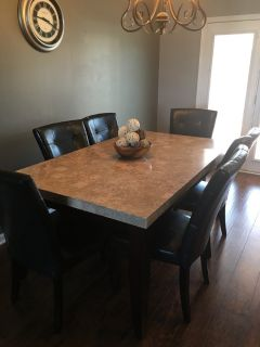 Matching marble top dining, coffee and end table