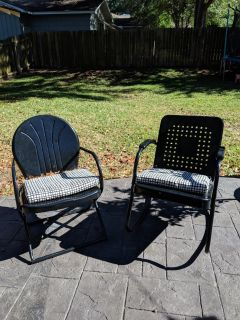 Antique Metal Chair and Rocker (cushions not included)