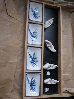 Sushi Set, Ceramic Dishes  Scoops in Wood crate