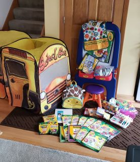 School Bus Tent / Easel and LOTS of Supplies