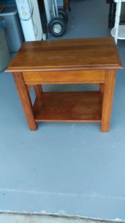 Nice End Table with Writing Pad. Restained and Polished. 25x16x21