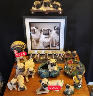 PUG ITEMS - Several Figurines, One Picture, Keys Holder