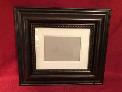 15-1/2 x 13-1/2 Matted Picture Frame. Vertical & Horizontal Hangers. Photo of Back Attached