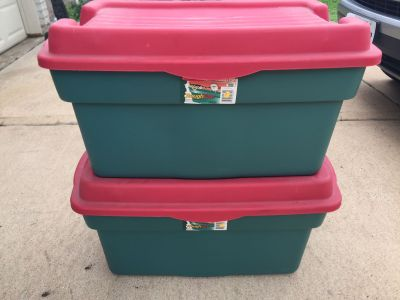 2 Christmas storage containers