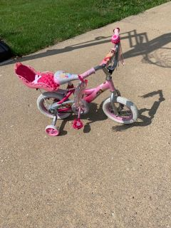 12 inch princess bike with doll carrier