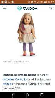 American Girl doll Isabelle's Metalic Dress set. New in box.
