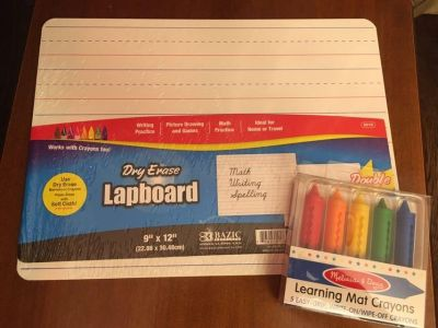 New dry erase double sided lap board with new crayon set