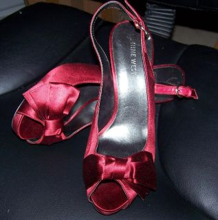 Nine West Red Satin Pump with bow