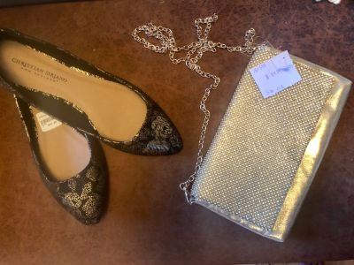 NWT s black & gold dress shoes and gold clutch