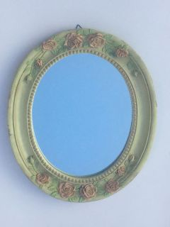 creamy green oval mirror with pale pink roses 12x14""