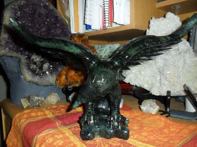 Exceptional and Beautiful Antique Black Jade Eagle Statue
