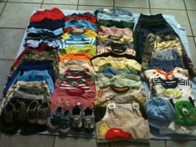 Baby boy Clothes 3-6 months 6-9 9-12 some 18 months 4 shoes size 3 65pieces