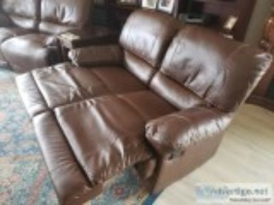 TWO MATCHING DARK BROWN LOVE-SEAT DUAL RECLINERS