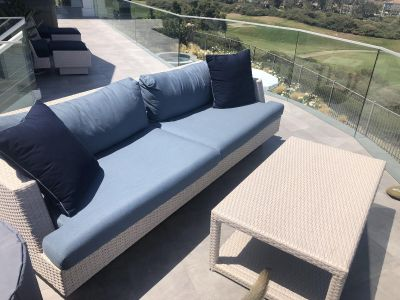Couch with square table