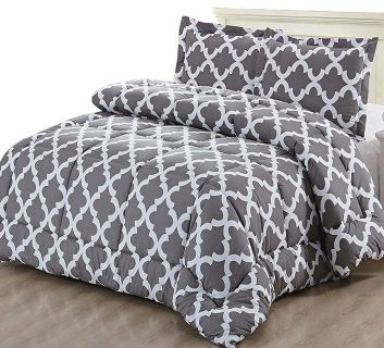 Printed Comforter Set Queen) with 2 Pillow Shams gray BRAND NEW IN BAG