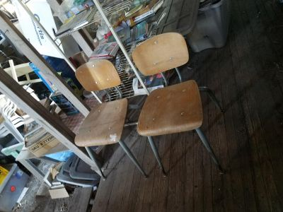 Lot of three Vintage metal and wood chairs