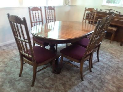 Solid Wood, Double Pedestal Dining Set & Hutch