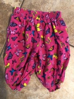 Bright Pink Butterflies Pj s Pants. Pine 0-3 Months. Nice Condition