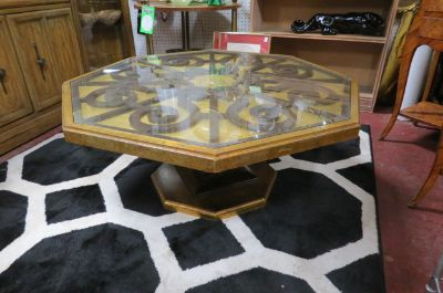 Vintage MCM octagonal gold leaf wood coffee table
