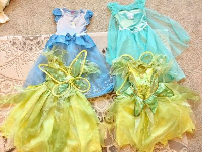 2 Princess & 2 Tinkerbell costumes size 6