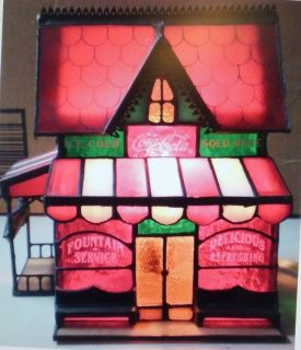 COCA COLA STAINED GLASS CORNER STORE LAMP