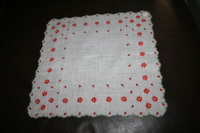 Vintage Christmas handkerchief stitched poinsettias