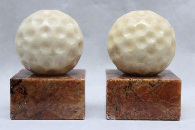 Vintage Alabaster Marble Golf Ball Bookends